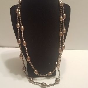 Monet Necklace Silver Tone Beads Gold Tone Clasp W